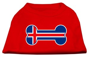 Bone Shaped Iceland Flag Screen Print Shirts Red XL (16)